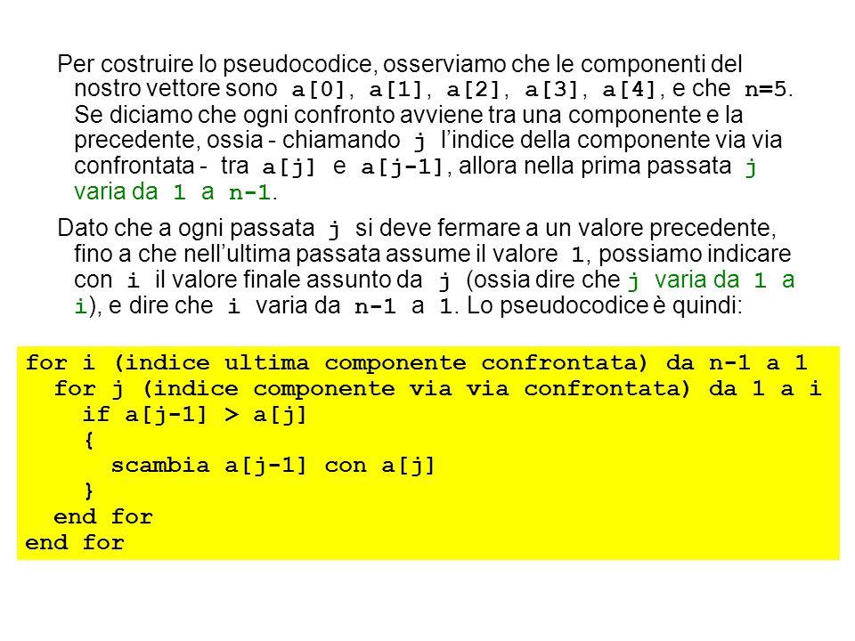 Per costruire lo pseudocodice, osserviamo che le componenti del nostro vettore sono a[0], a[1], a[2], a[3], a[4], e che n=5. Se diciamo che ogni confronto avviene tra una componente e la precedente, ossia - chiamando j l'indice della componente via via confrontata - tra a[j] e a[j-1], allora nella prima passata j varia da 1 a n-1.